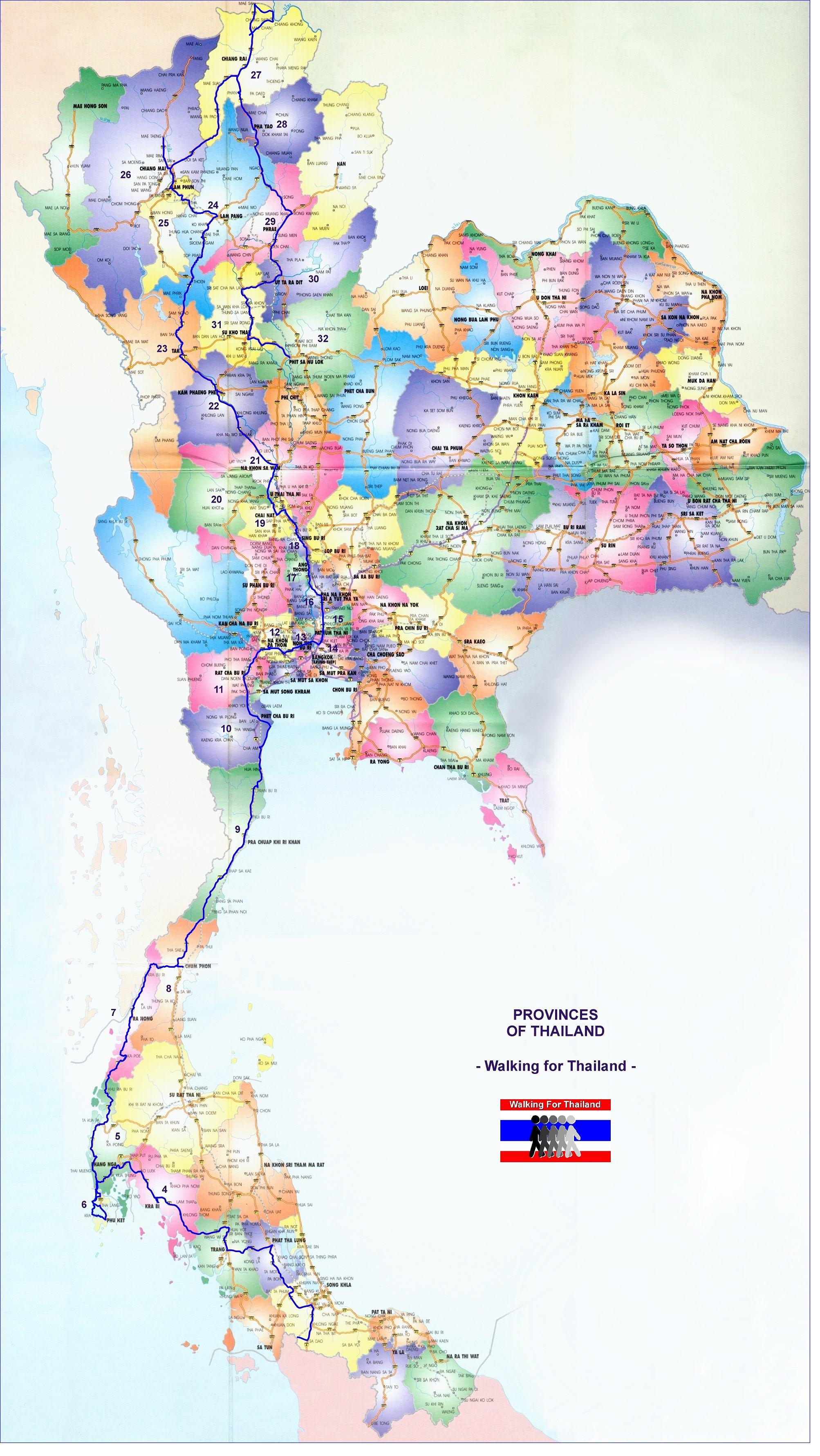 WORLDTWITCH Thailand Natural History Resource Guide Birding – Thailand Tourist Map