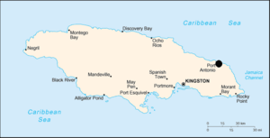 Map of Jamaica with highlight on Port Antonio