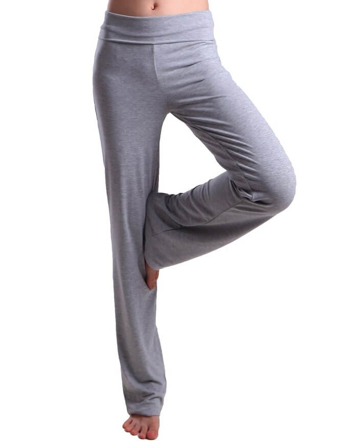 2d6ff6ecbe32c HDE Women's Fold Over Waist Yoga Lounge Pants Flare Leg Workout Leggings